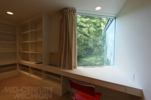 Gunnar Birkerts Freeman House Bedroom Bookshelves